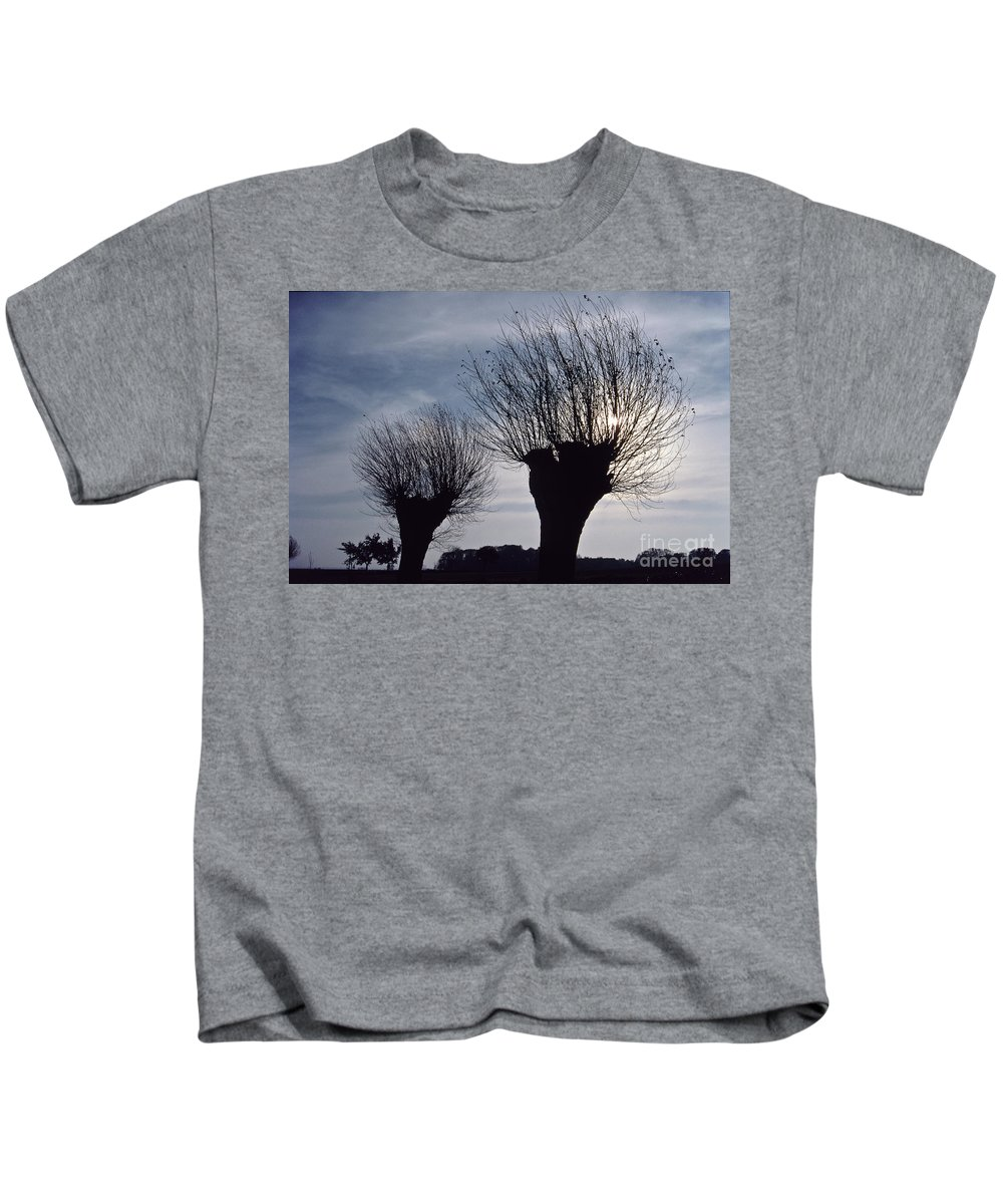 Heiko Kids T-Shirt featuring the photograph Willow Trees In Winter by Heiko Koehrer-Wagner