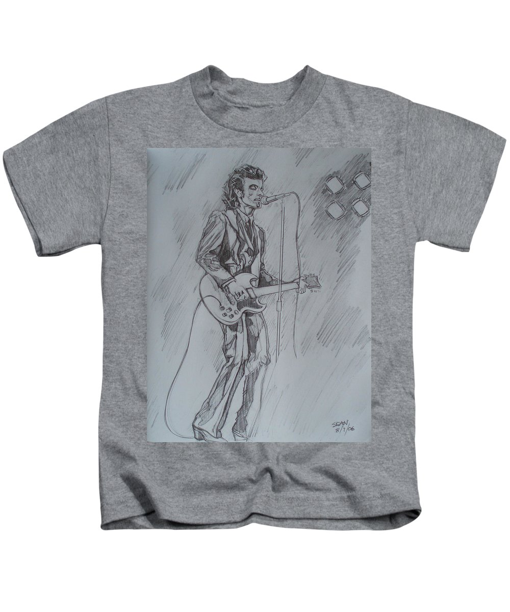 Pencil Kids T-Shirt featuring the drawing Willy Deville - Steady Drivin' Man by Sean Connolly