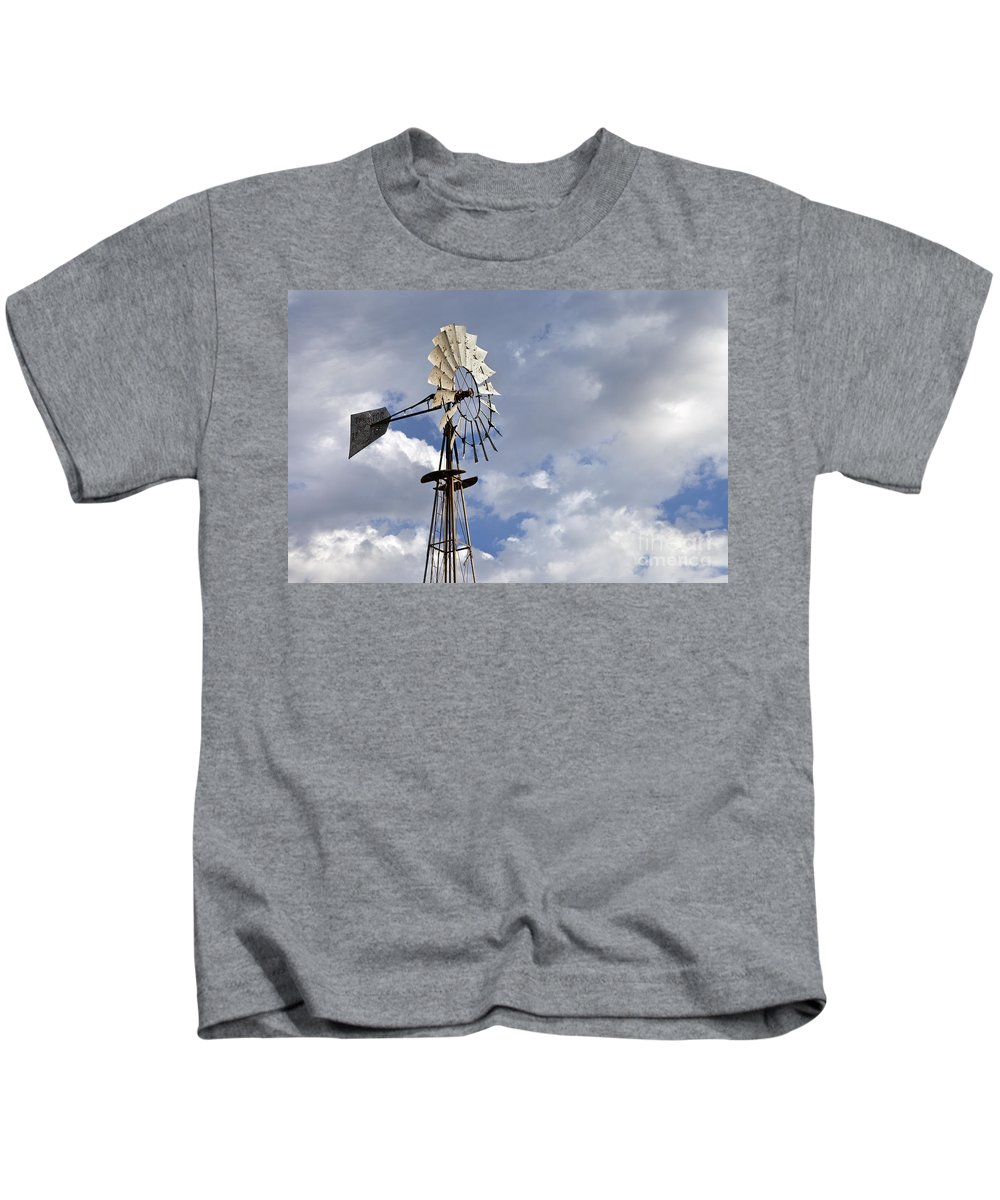 Windmill Kids T-Shirt featuring the photograph Windmill In The Sky by Rick Pisio