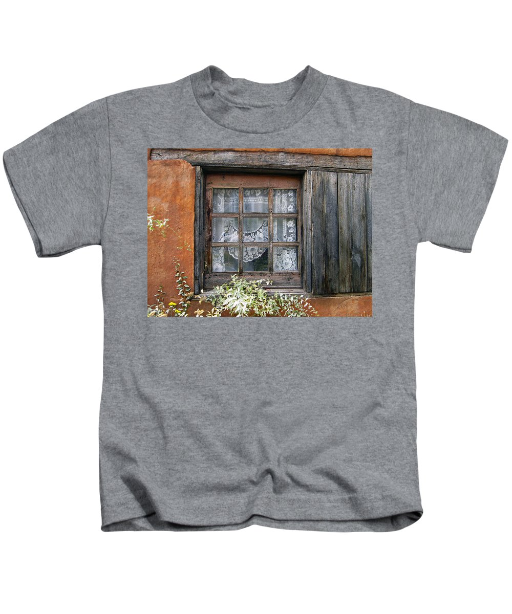 Window Kids T-Shirt featuring the photograph Window At Old Santa Fe by Kurt Van Wagner