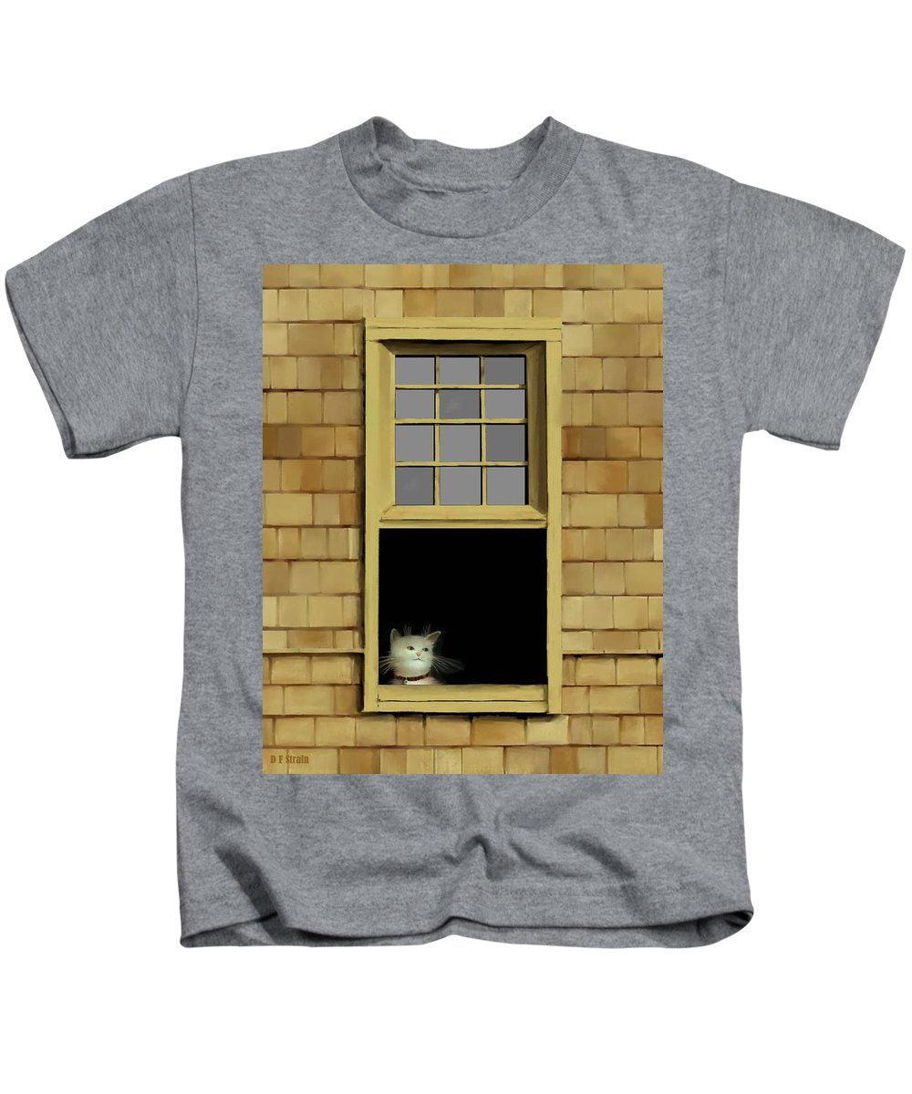 Diane Strain Kids T-Shirt featuring the painting Window Cat  No. 2 by Diane Strain