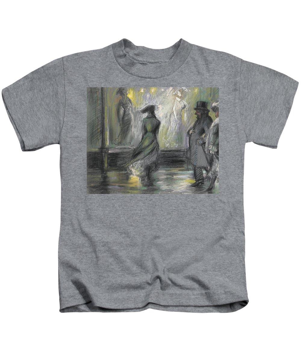 Everett Kids T-Shirt featuring the painting Window Shopping by Everett Shinn