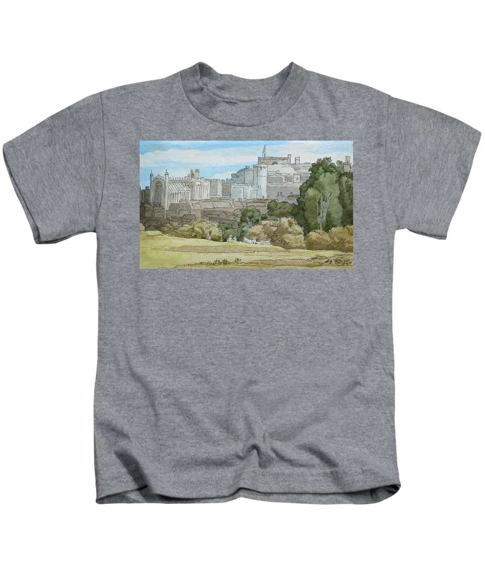 Francis Towne - Windsor Kids T-Shirt featuring the painting Windsor by Celestial Images