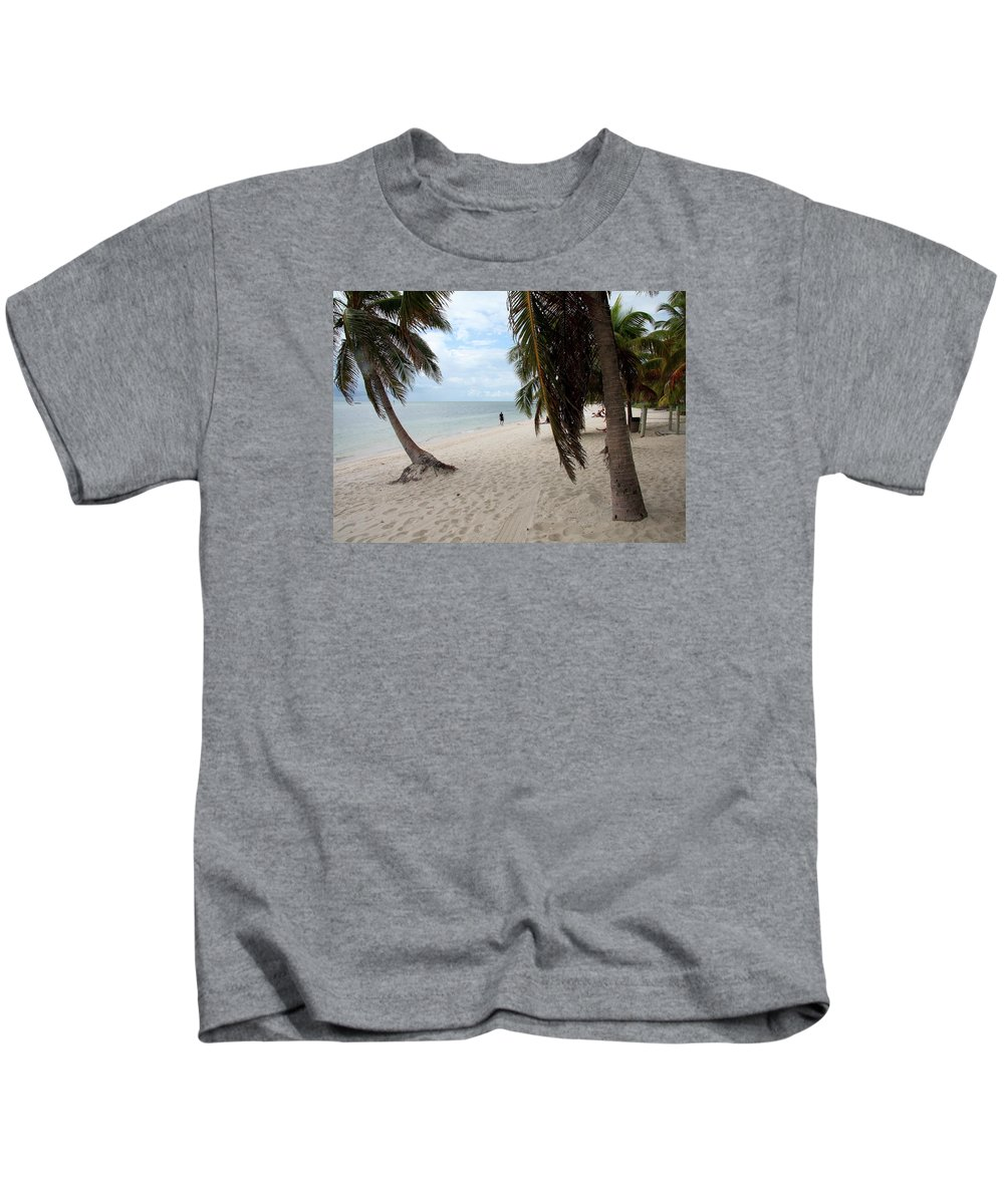 Palmtree Kids T-Shirt featuring the photograph Windswept Palms by Christiane Schulze Art And Photography