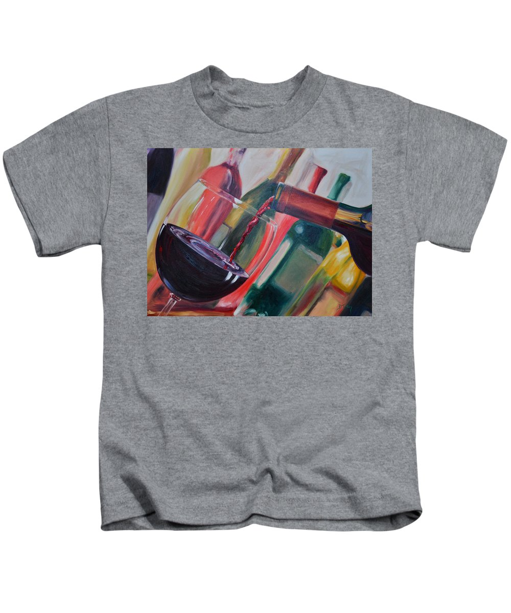 Wine Kids T-Shirt featuring the painting Wine Pour IIi by Donna Tuten