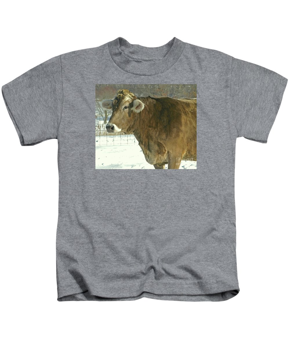 Cow Kids T-Shirt featuring the photograph Winter Coat by Ann Horn