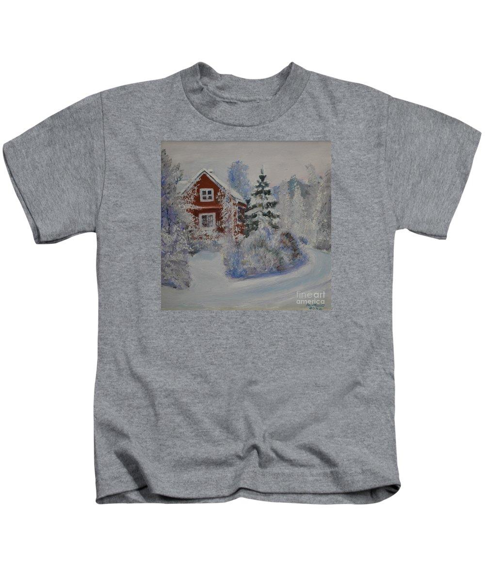 Raija Merila Kids T-Shirt featuring the painting Winter In Finland by Raija Merila