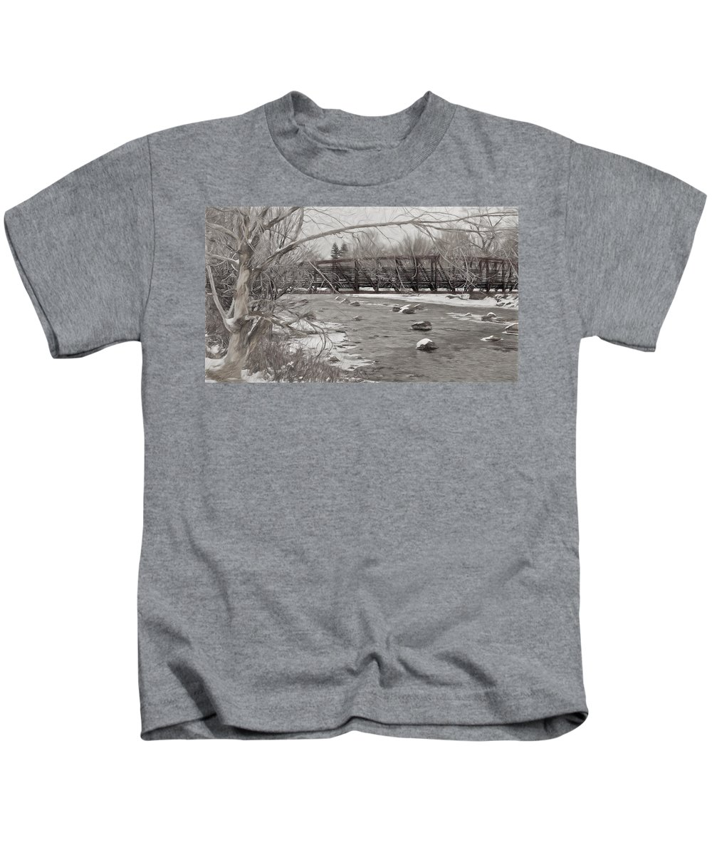 Animas River Kids T-Shirt featuring the photograph Winter In Pencil by Pam Boling