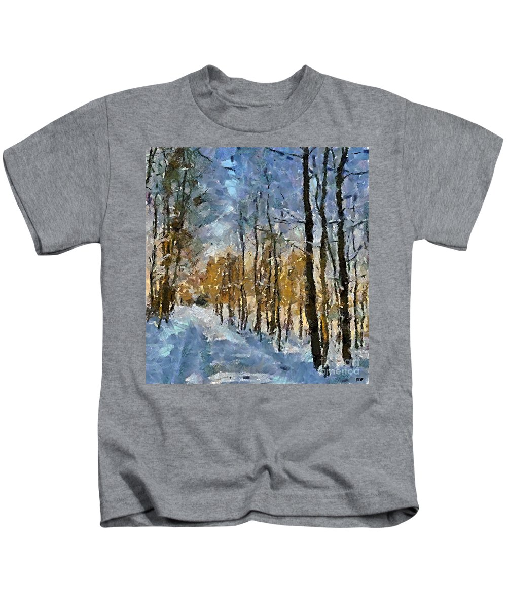 Season Kids T-Shirt featuring the painting Winter Morning In The Forest by Dragica Micki Fortuna
