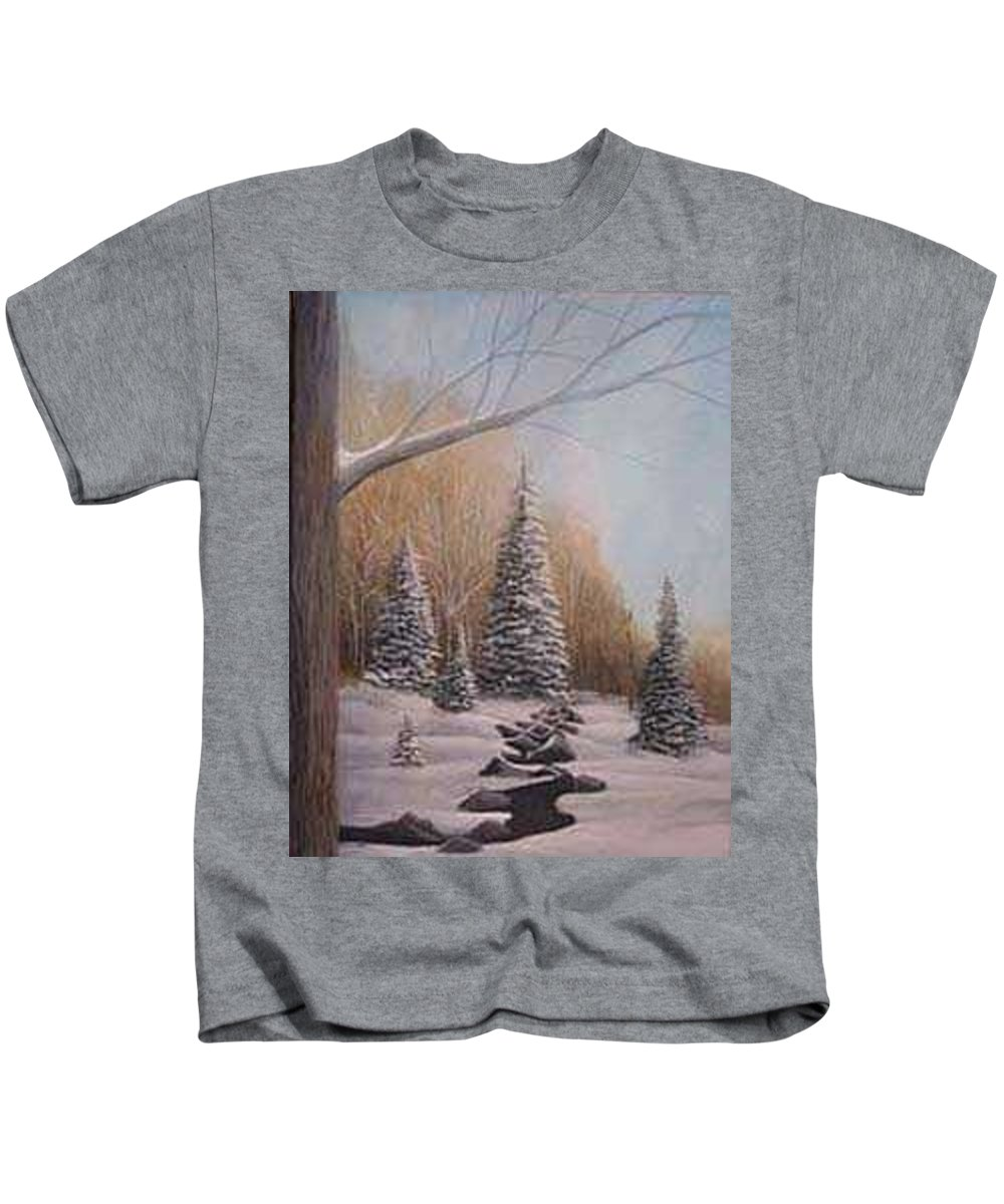 Rick Huotari Kids T-Shirt featuring the painting Winter Morning by Rick Huotari