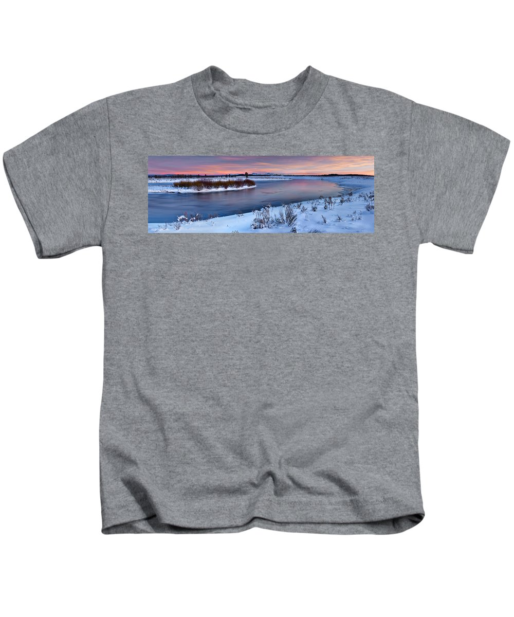 Clouds Kids T-Shirt featuring the photograph Winter Quiet And Colorful by Leland D Howard