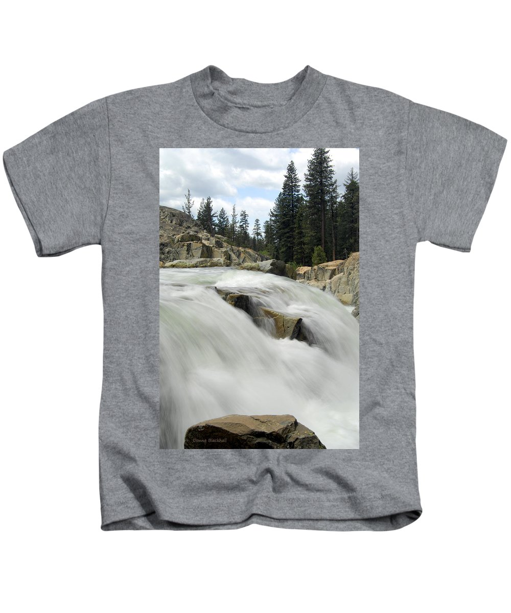 Yuba River Kids T-Shirt featuring the photograph Winter Runoff by Donna Blackhall