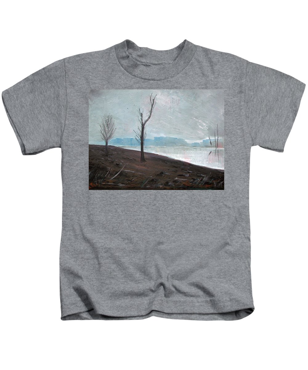 Landscape Kids T-Shirt featuring the painting Winter by Sergey Bezhinets