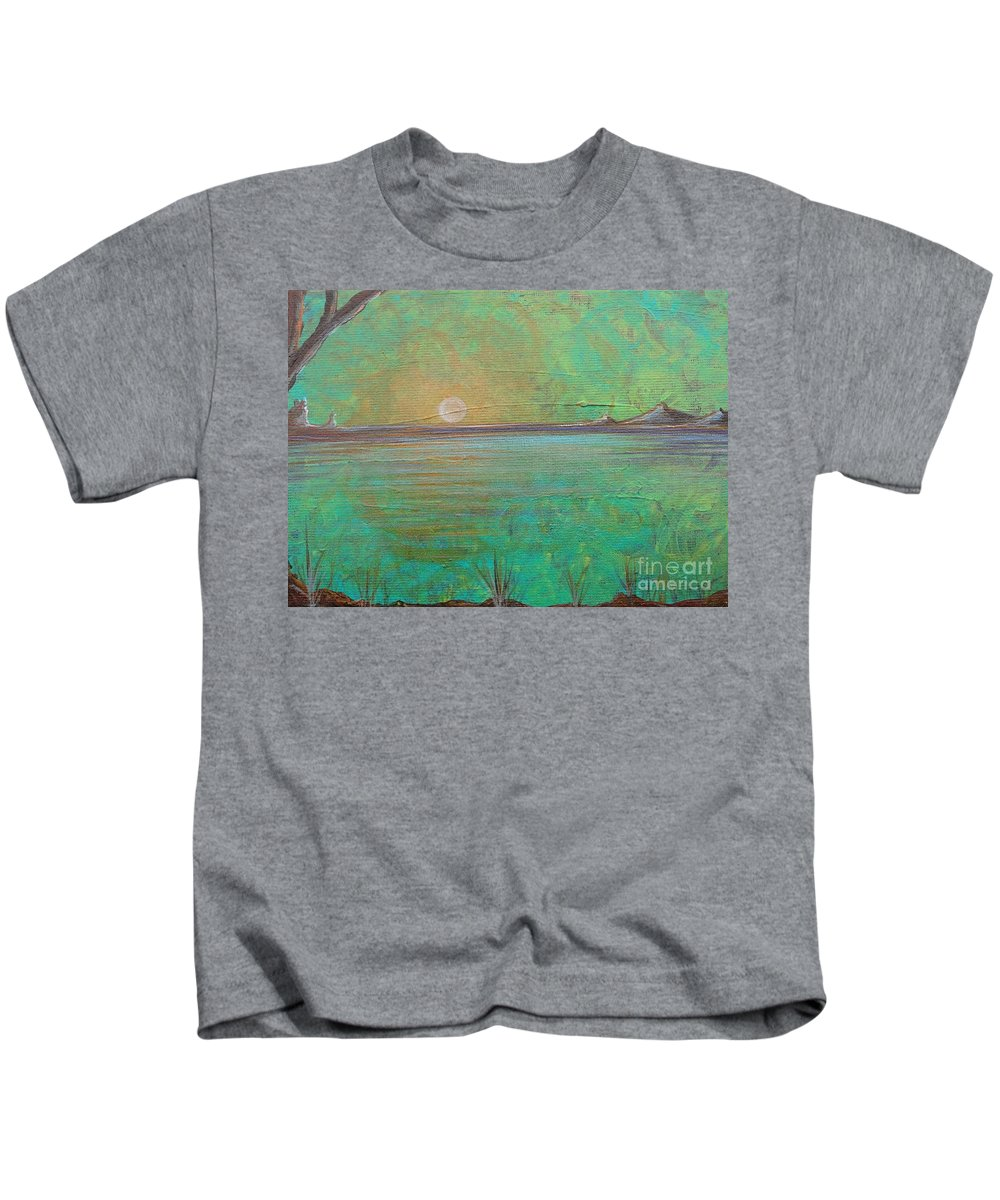Winter Solitude 7 Kids T-Shirt featuring the painting Winter Solitude 7 by Jacqueline Athmann