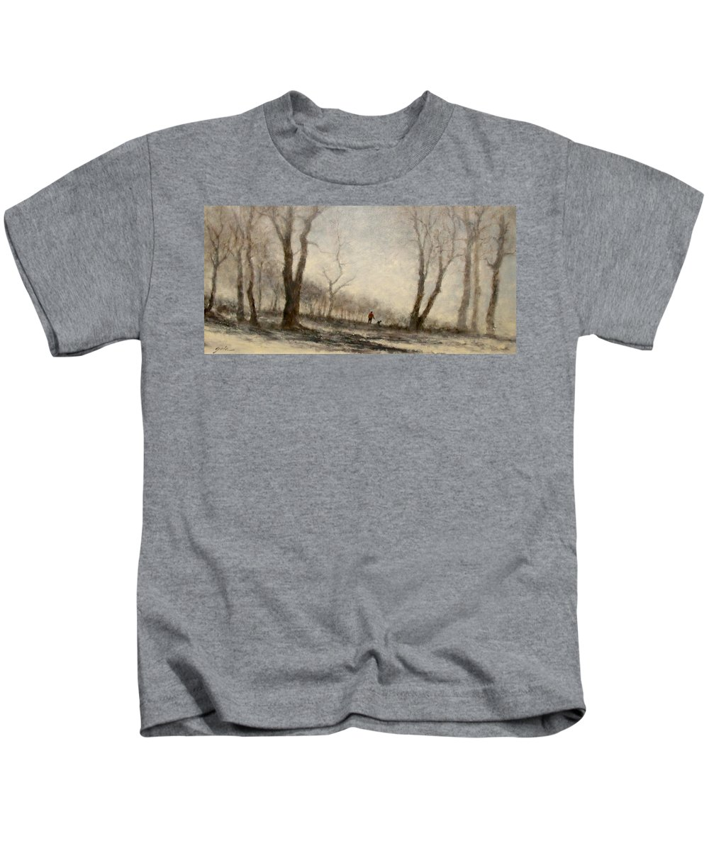 Landscape Kids T-Shirt featuring the painting Winter Walk by Jim Gola