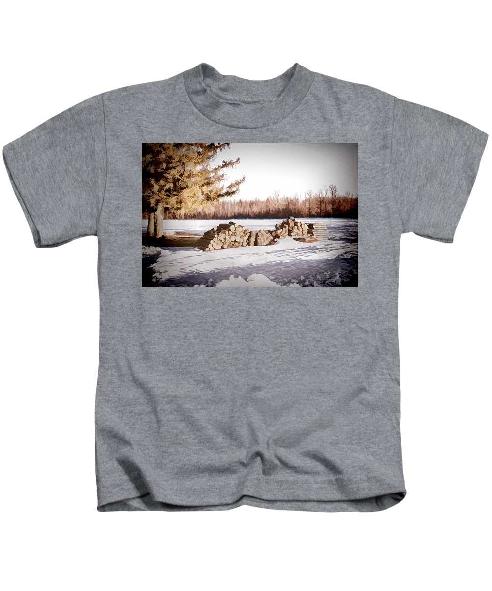 Wood Kids T-Shirt featuring the photograph Winter Wood by Ray Summers Photography