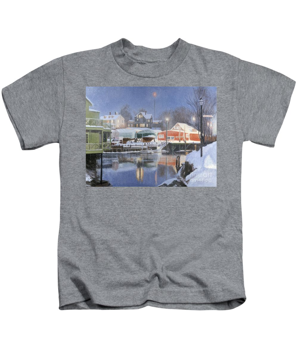 Kennebunkport Kids T-Shirt featuring the painting Winters Rest by Candace Lovely
