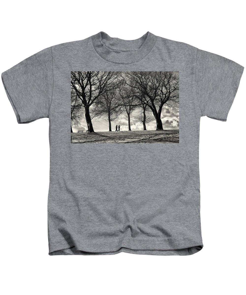 B&w Kids T-Shirt featuring the photograph Winters Walk by Russ Dixon