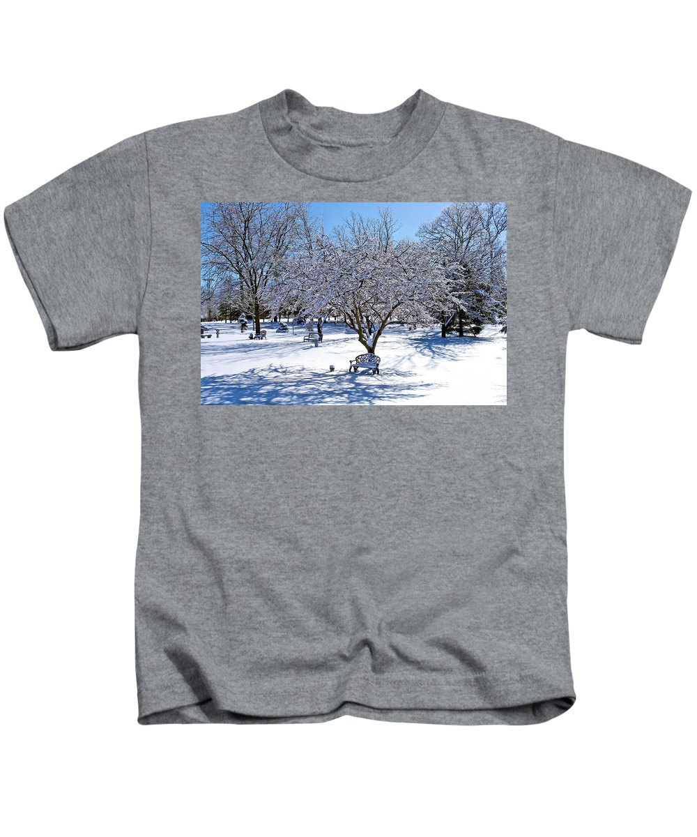 Wintry Kids T-Shirt featuring the photograph Wintry Day At The Park by Patti Smith