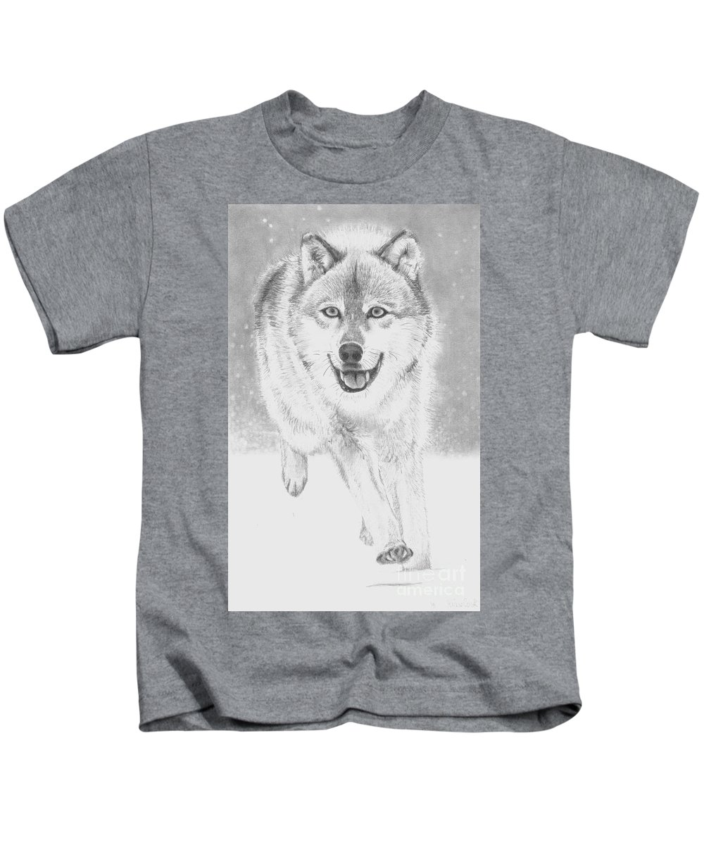 Wolf Kids T-Shirt featuring the drawing Wolf by Raine Cook