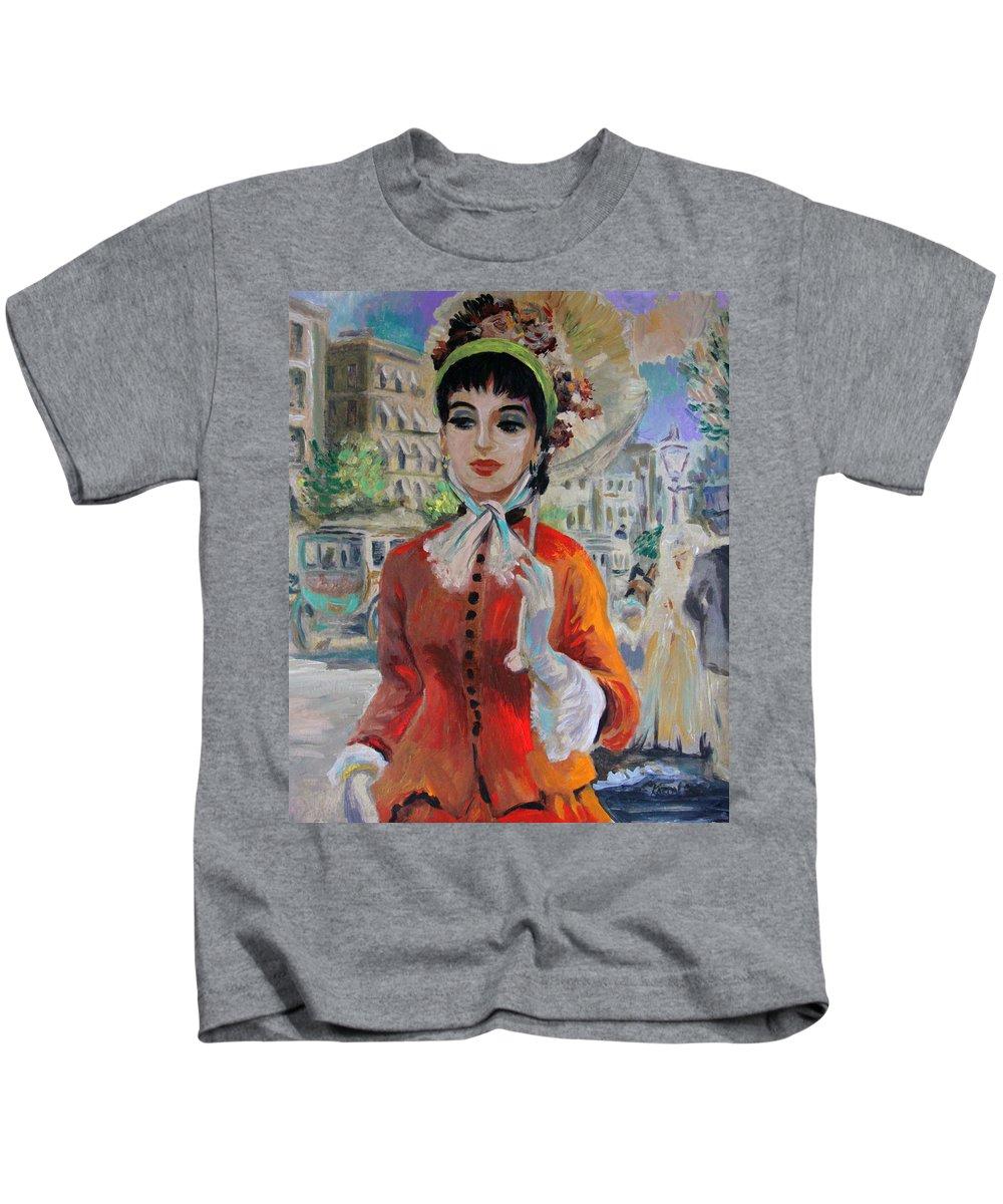 Portrait Kids T-Shirt featuring the painting Woman With Parasol In Paris by Karon Melillo DeVega