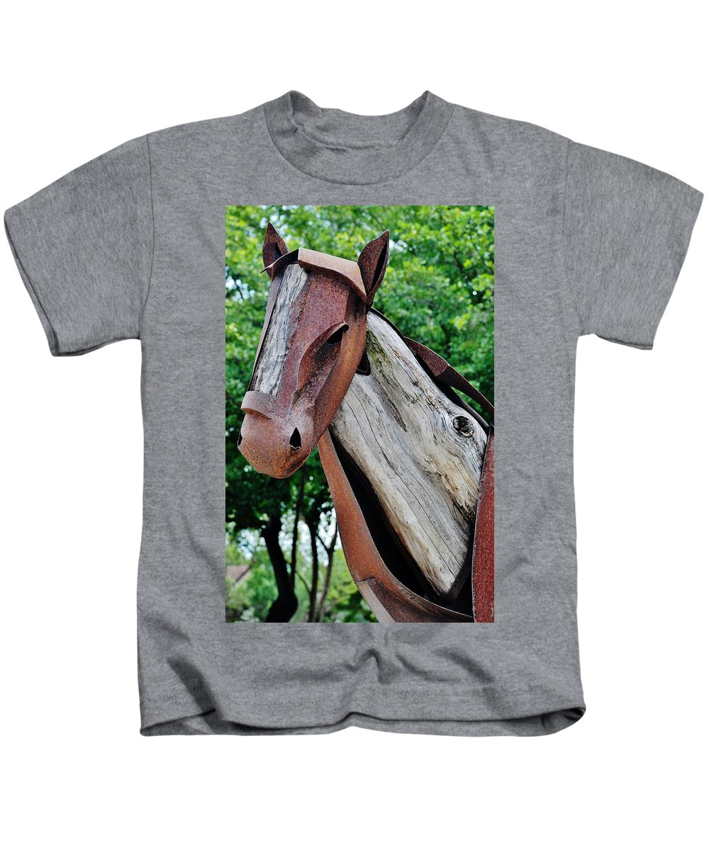 Horse Kids T-Shirt featuring the photograph Wooden Horse21 by Rob Hans