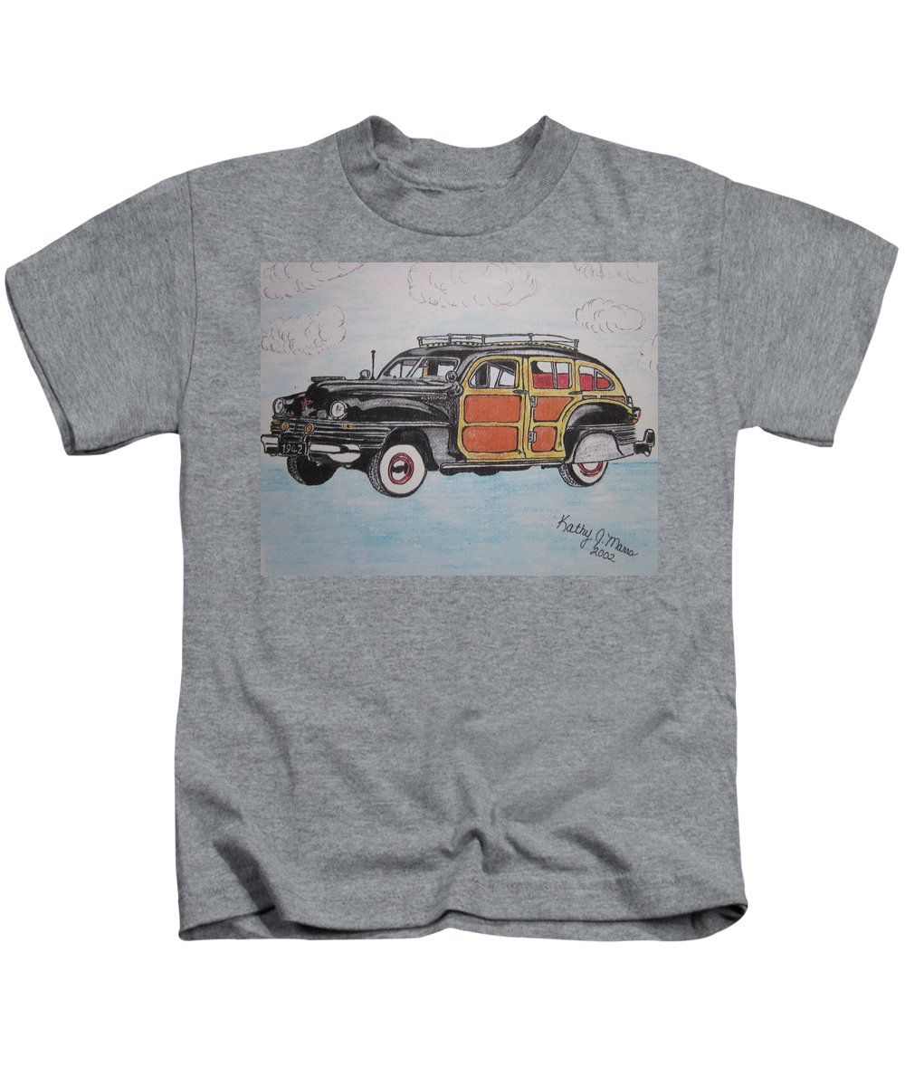 Woodie Kids T-Shirt featuring the painting Woodie Station Wagon by Kathy Marrs Chandler