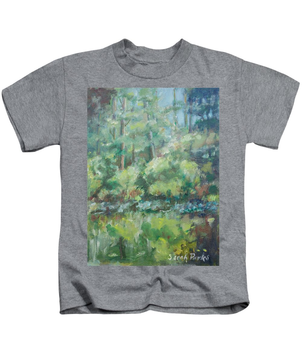 Woods Kids T-Shirt featuring the painting Woodland Pond by Sarah Parks