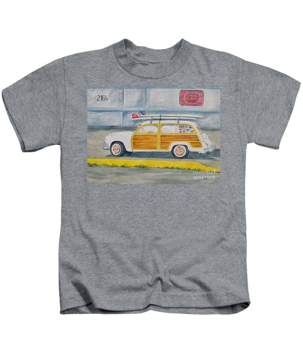 Woody Paintings Kids T-Shirt featuring the painting Woody by Regan J Smith