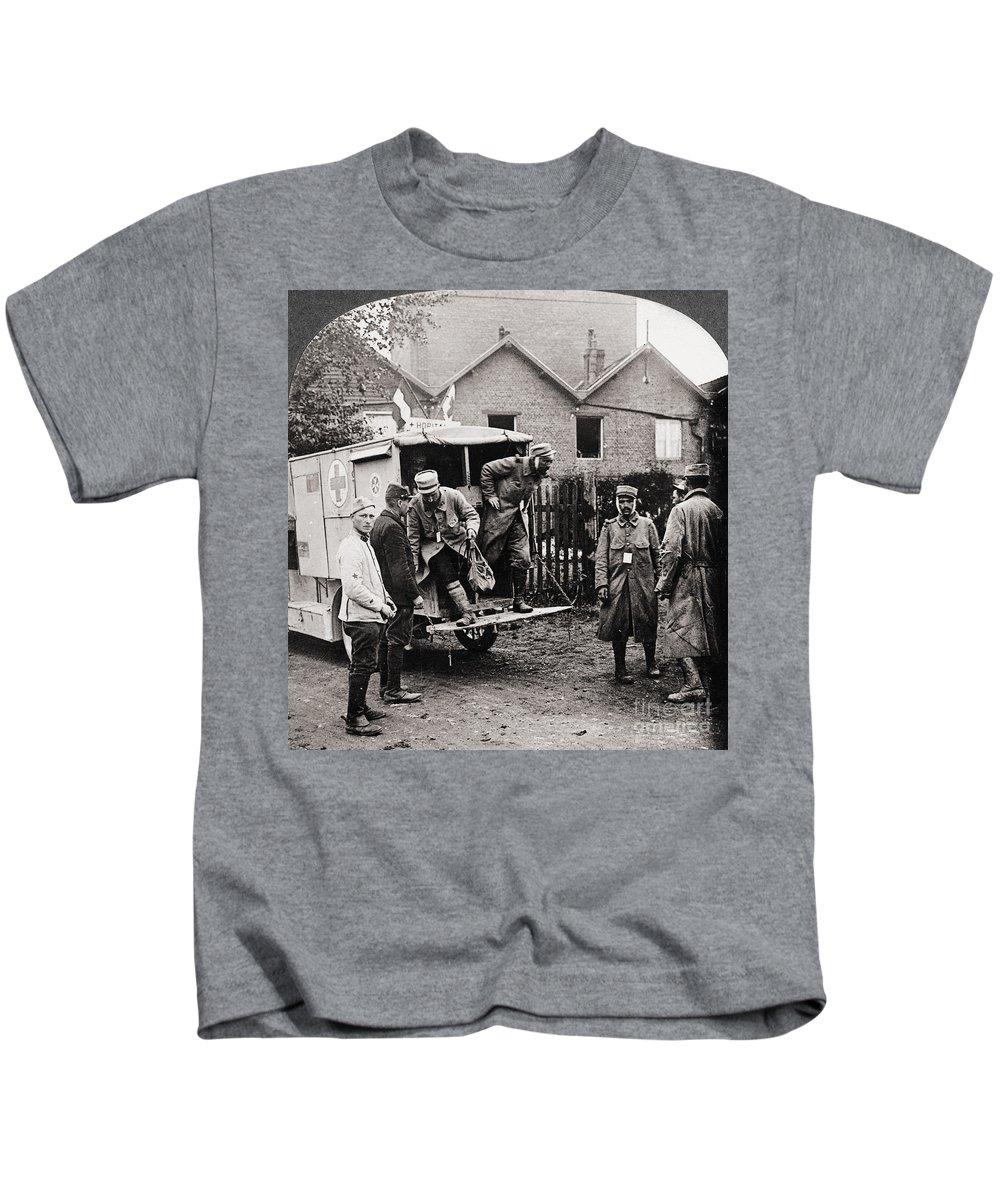 1918 Kids T-Shirt featuring the photograph World War I: Ambulance by Granger