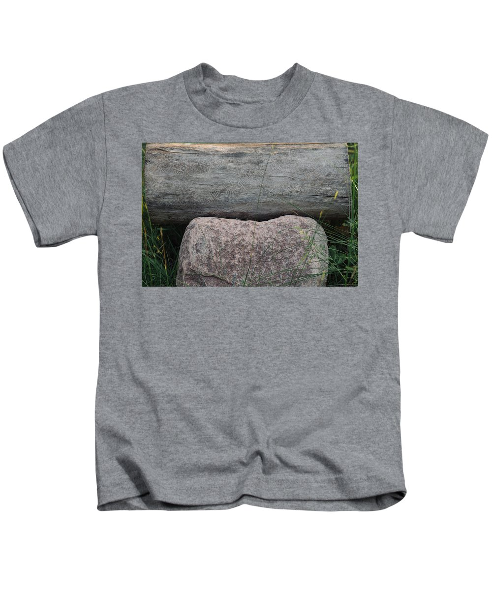 Log Kids T-Shirt featuring the photograph Worm Wood And Granite by Kyra Savolainen