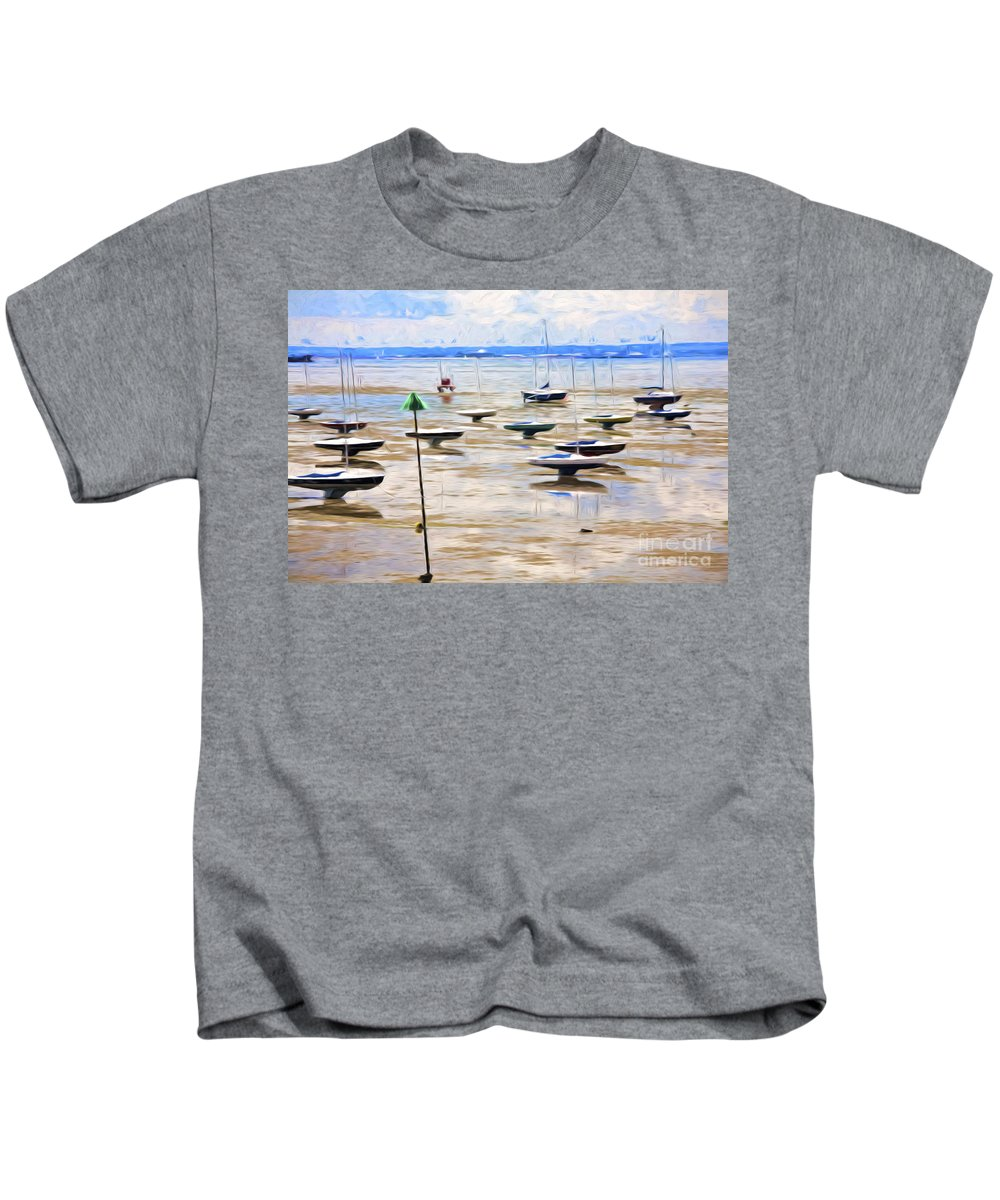 Mudflats Kids T-Shirt featuring the photograph Yachts on mudflats at Leigh on Sea by Sheila Smart Fine Art Photography