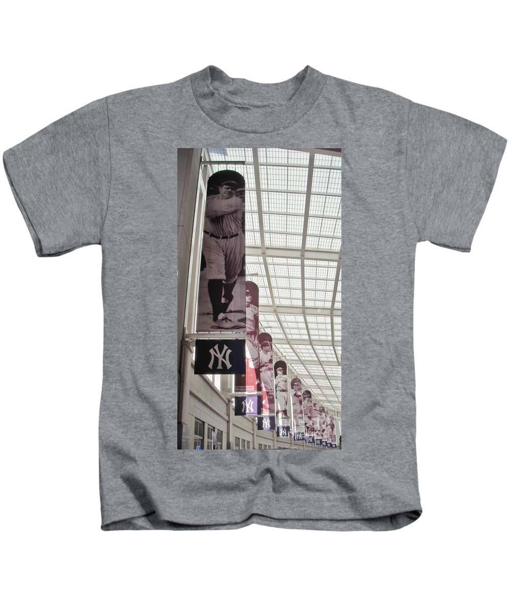 Yankee Stadium Kids T-Shirt featuring the photograph Yankee Old Timers Flags by Michelle Welles