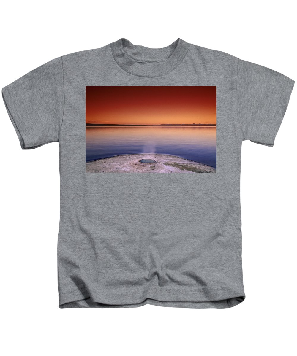 Yellowstone Kids T-Shirt featuring the photograph Yellowstone Lake And Geyser by Rich Franco