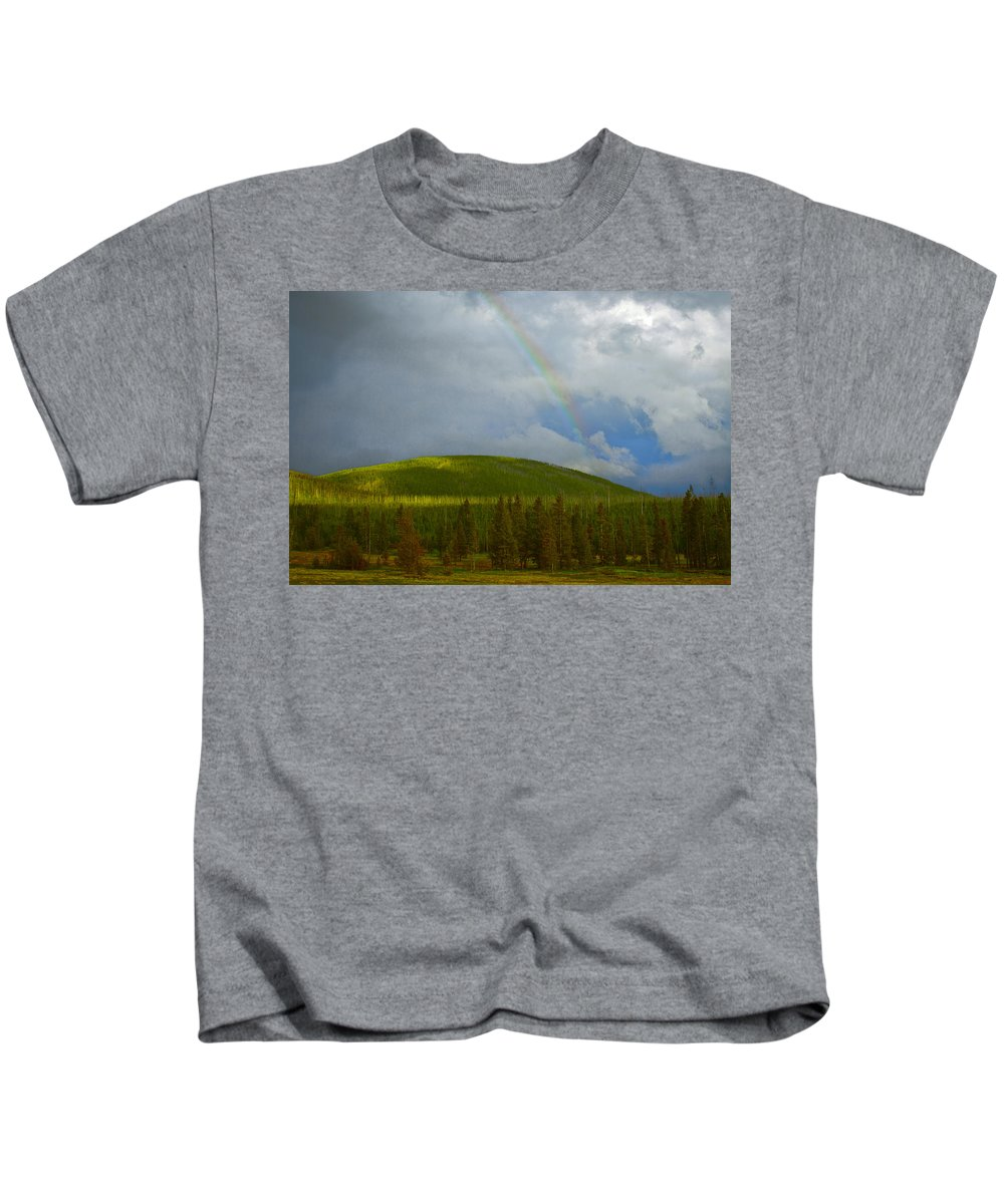 America Kids T-Shirt featuring the photograph Yellowstone Rainbow by Jack R Perry