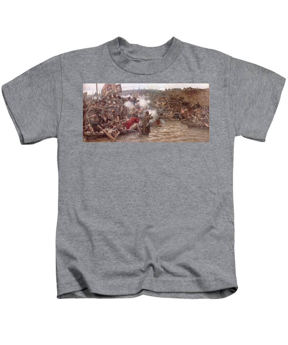 Vasily Ivanovich Surikov Kids T-Shirt featuring the painting Yermaks Conquest Of Siberia by Vasily Ivanovich Surikov