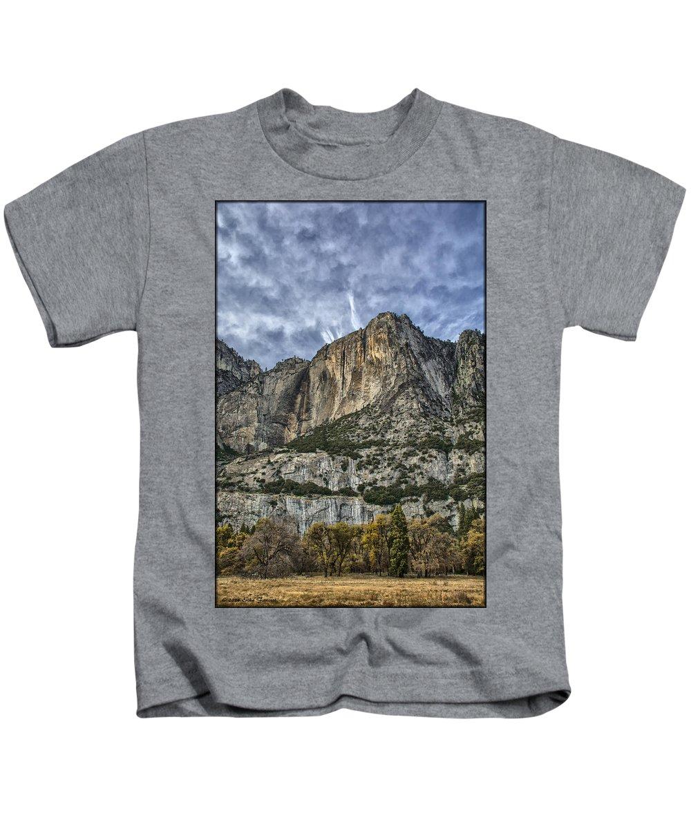 Yosemite Kids T-Shirt featuring the photograph Yosemite Falls Dry by Erika Fawcett