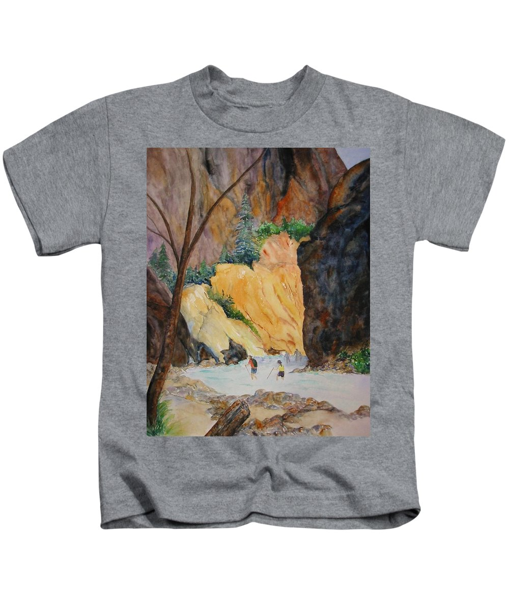 Zion Kids T-Shirt featuring the painting Zion Hike by Patricia Beebe