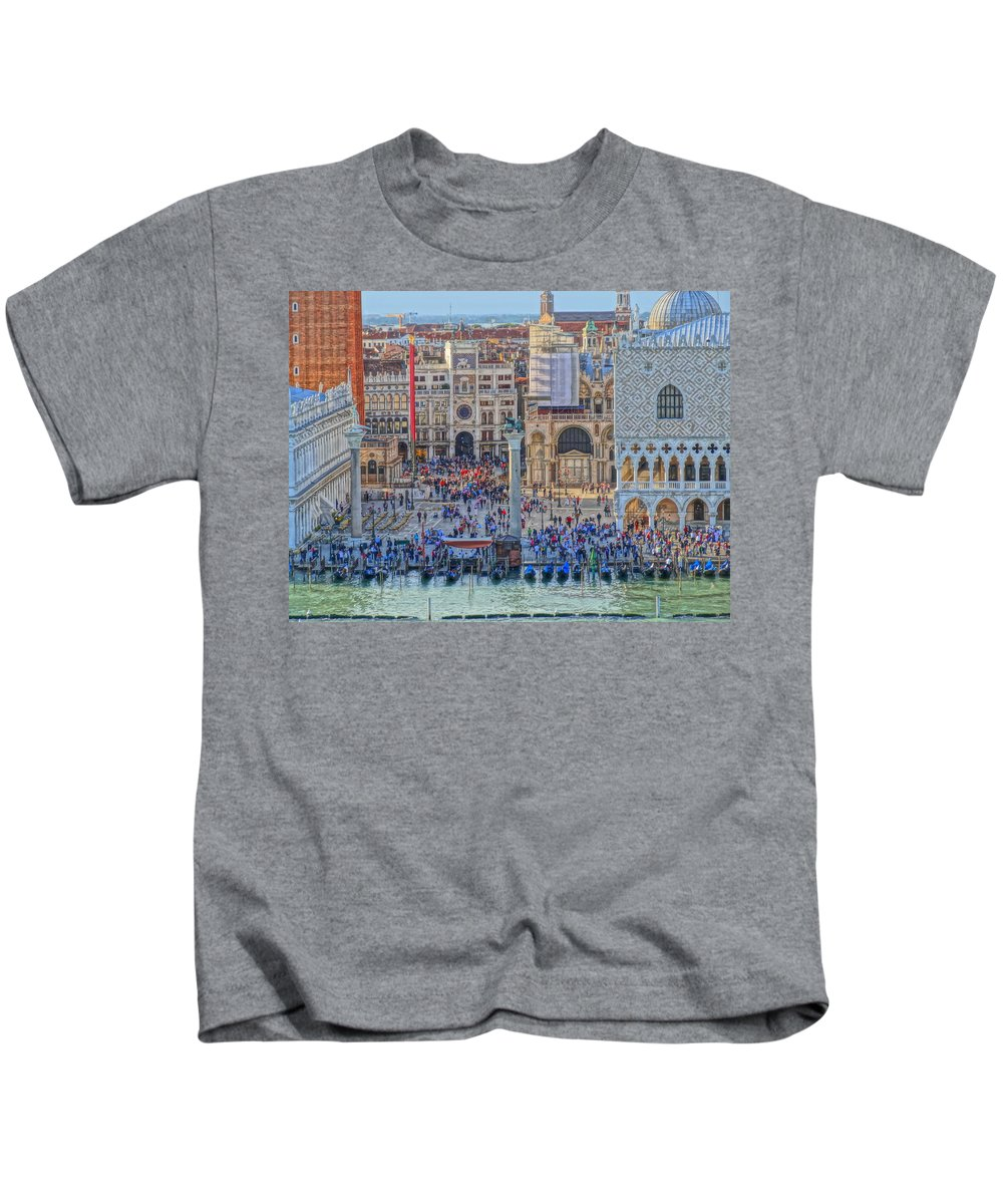 San Marco Kids T-Shirt featuring the photograph Zoom On St Marks Square Venice Italy by M Bleichner