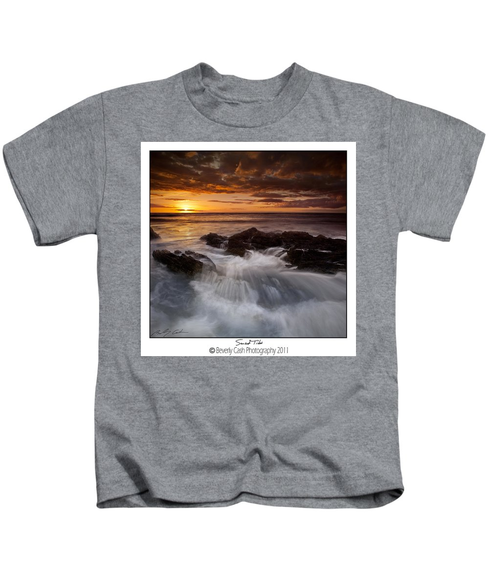 Sunset Kids T-Shirt featuring the photograph Sunset Tides by Beverly Cash