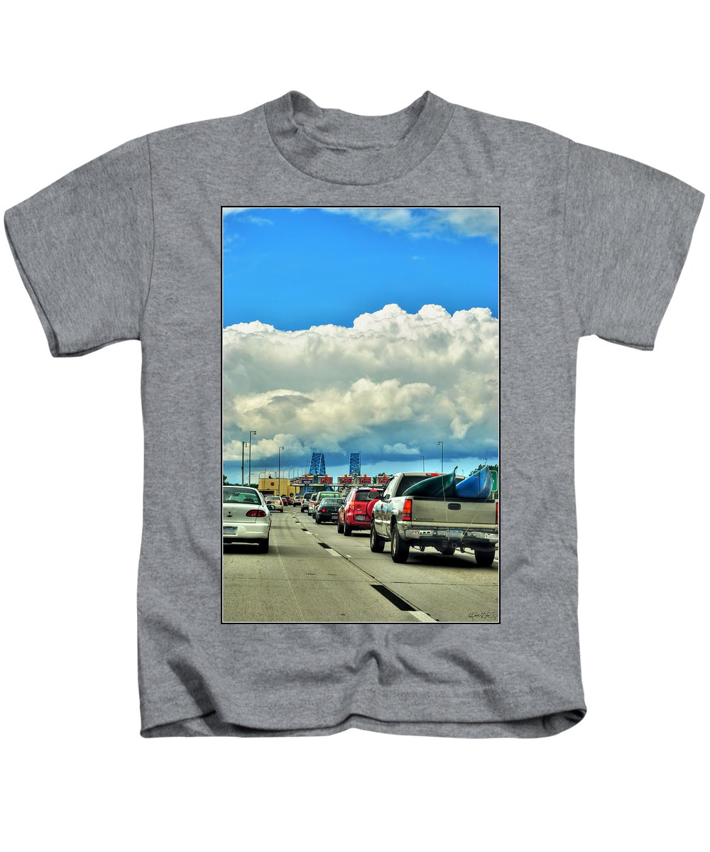 Kids T-Shirt featuring the photograph 002 Grand Island Bridge Series by Michael Frank Jr