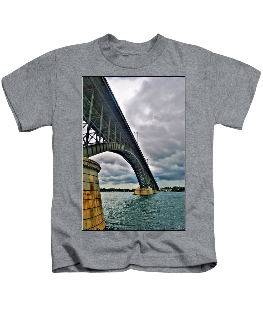 Kids T-Shirt featuring the photograph 009 Stormy Skies Peace Bridge Series by Michael Frank Jr