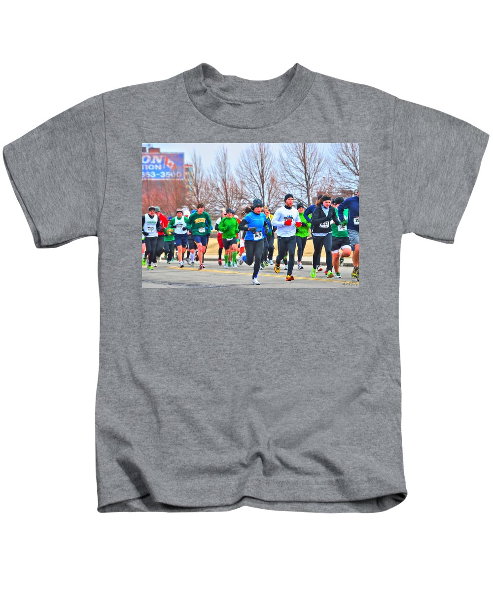 Kids T-Shirt featuring the photograph 020 Shamrock Run Series by Michael Frank Jr