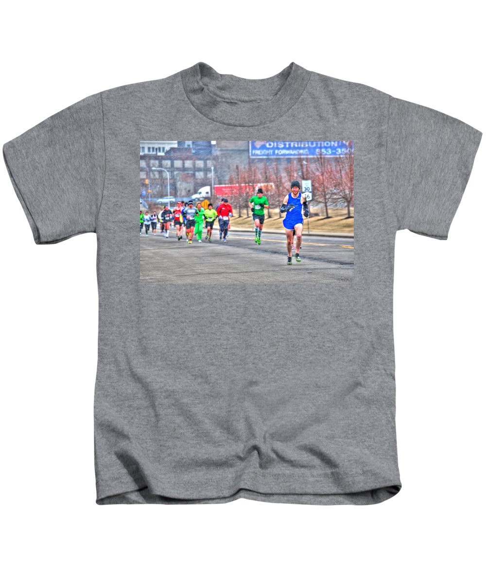 Kids T-Shirt featuring the photograph 03 Shamrock Run Series by Michael Frank Jr