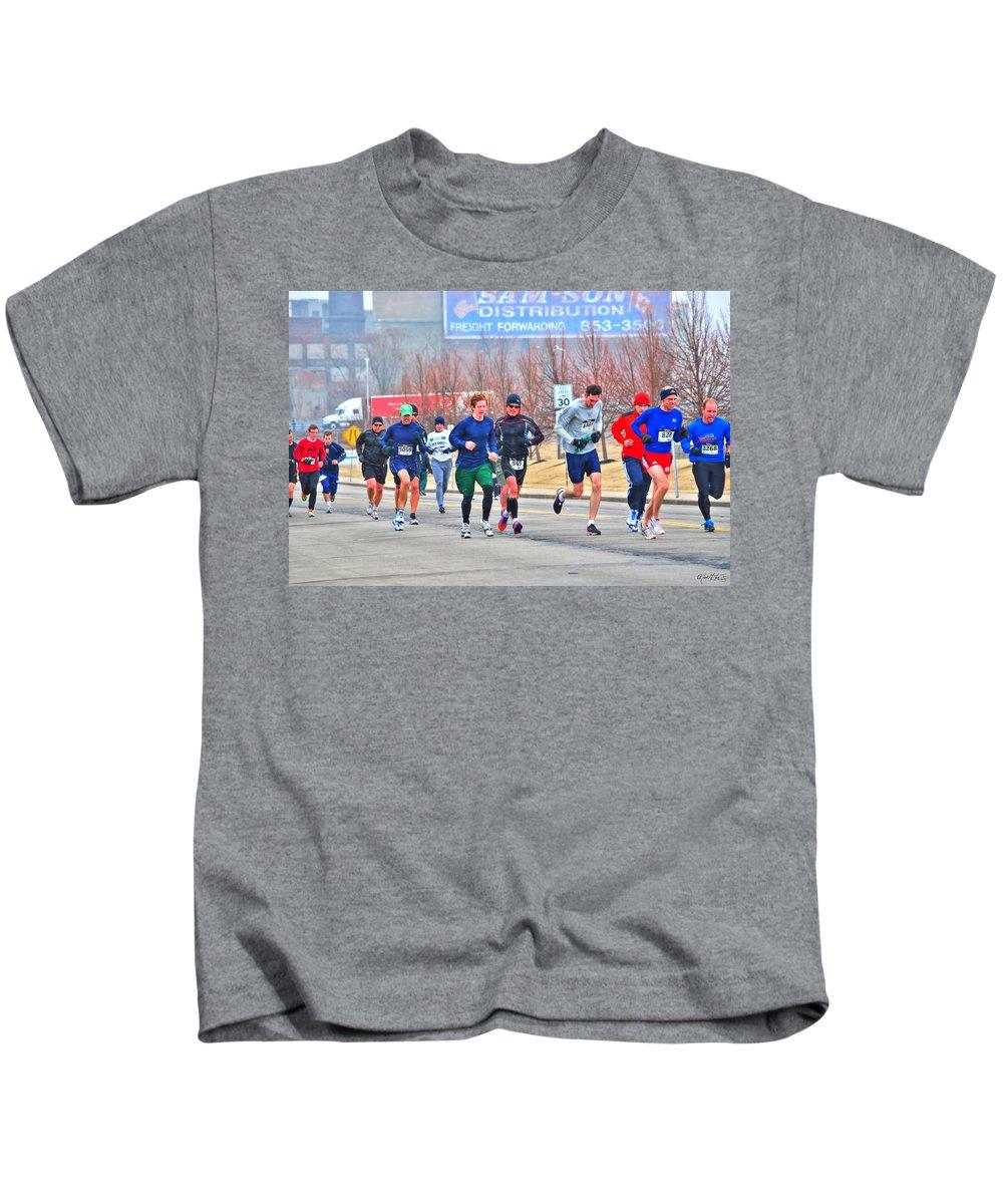 Kids T-Shirt featuring the photograph 09 Shamrock Run Series by Michael Frank Jr