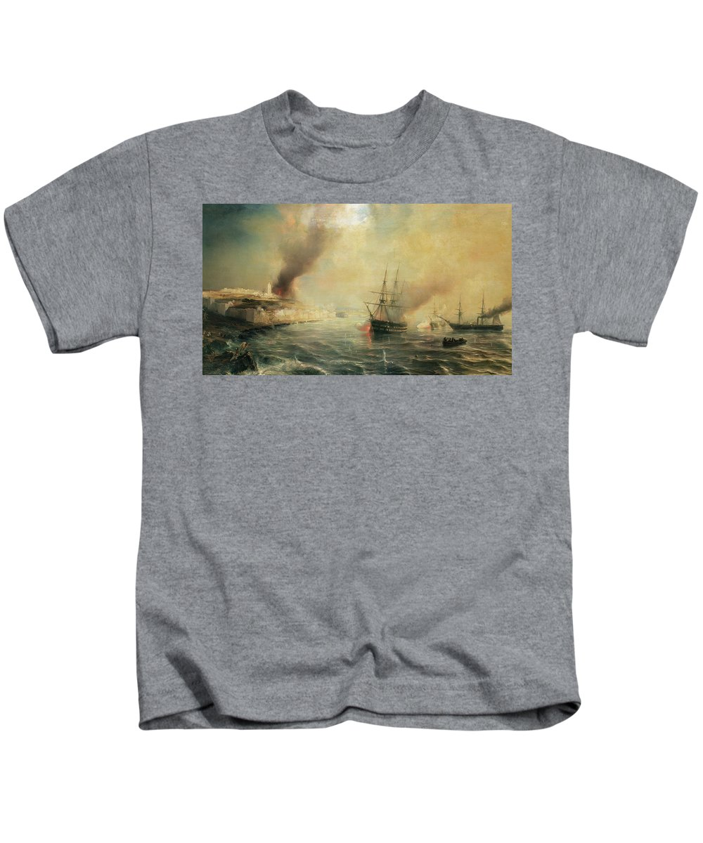Bombardment Of Sale Kids T-Shirt featuring the painting Bombardment Of Sale by Jean Antoine Theodore Gudin