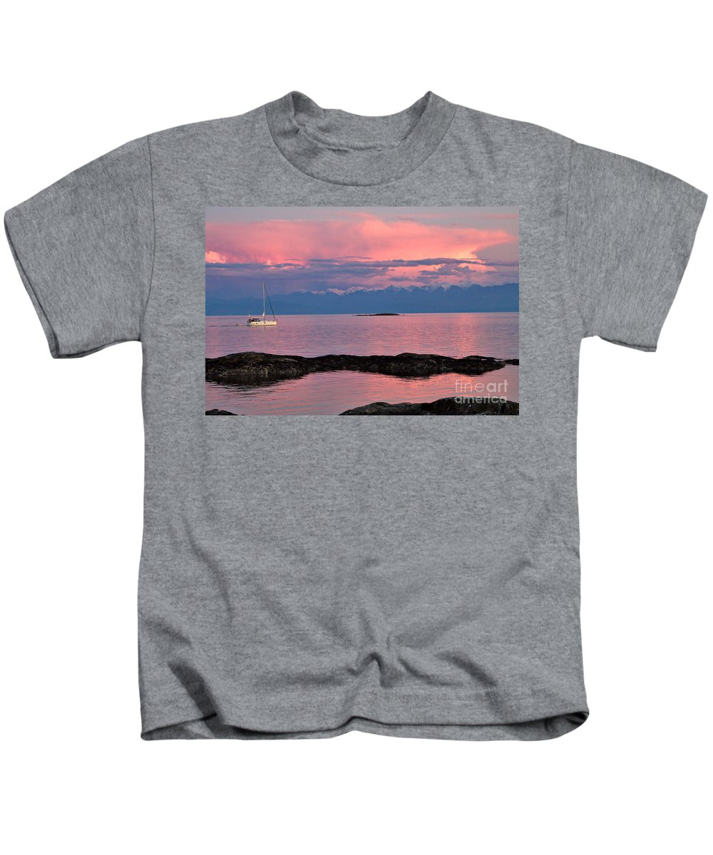 Sailboat Kids T-Shirt featuring the photograph Cattle Point And The Strait Of Juan De Fuca by Louise Heusinkveld