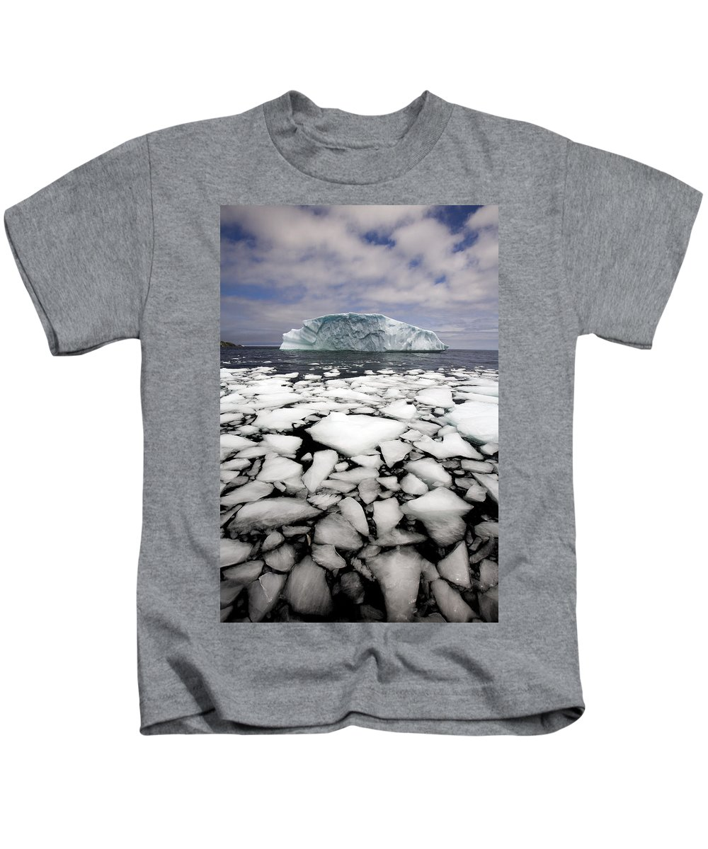 Chilly Kids T-Shirt featuring the photograph Floating Ice Shattered From Iceberg by John Sylvester