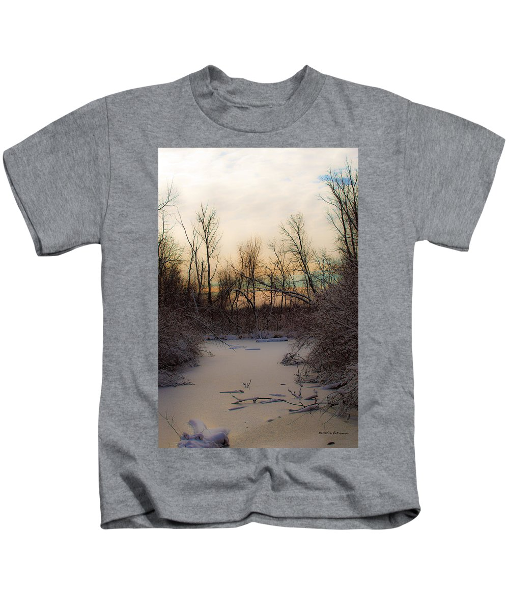 Winter Scene Kids T-Shirt featuring the photograph Frozen Pond by Edward Peterson