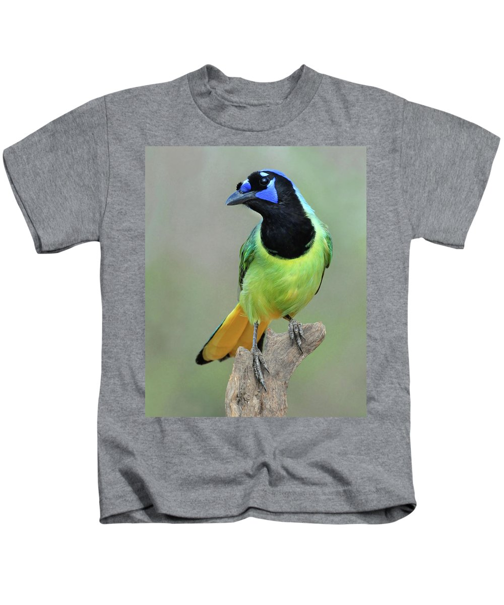 Green Jay Kids T-Shirt featuring the photograph Green Jay by Dave Mills